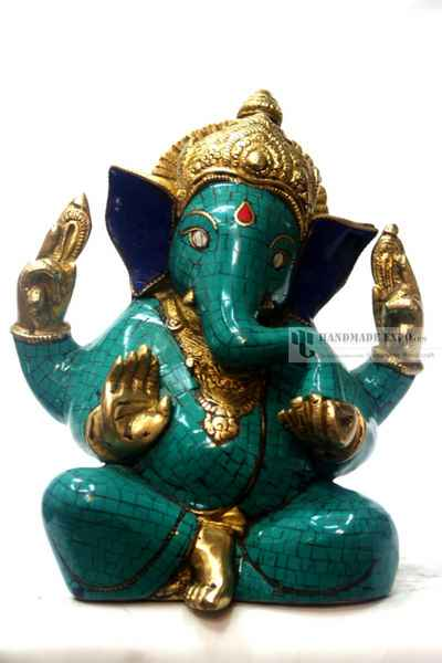 Ganesh Statue with Turquoise and Lapis Stone Setting-11402