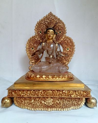 Crystal Vajrasattav with Fire Gold plated Metal Background and Base-12214