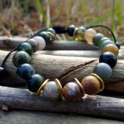 earthy bracelet with mixed stone beads-12650
