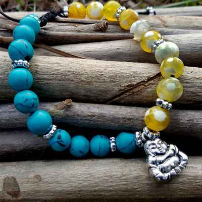 joy of  laughter bracelet with turquoise stone beads -12655